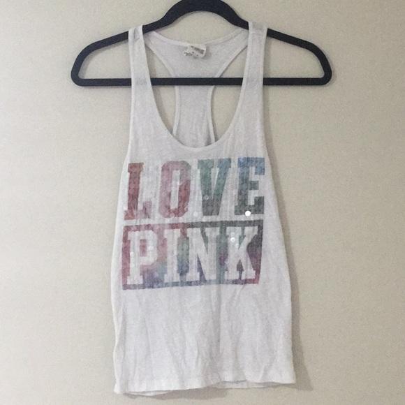 370b8a4f55a7c Love Pink Victoria's Secret white tank top XS
